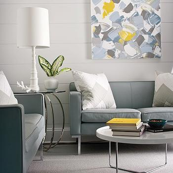 Gray and Blue Living Space, Contemporary, living room, New England Home