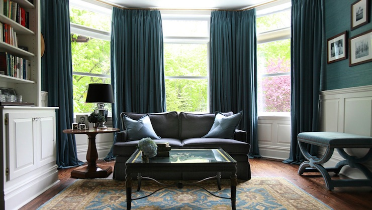 Turquoise Drapes Transitional Den Library Office
