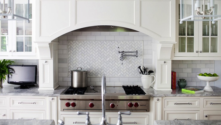 White Kitchen Herringbone Backsplash marble herringbone backsplash - transitional - kitchen - arch