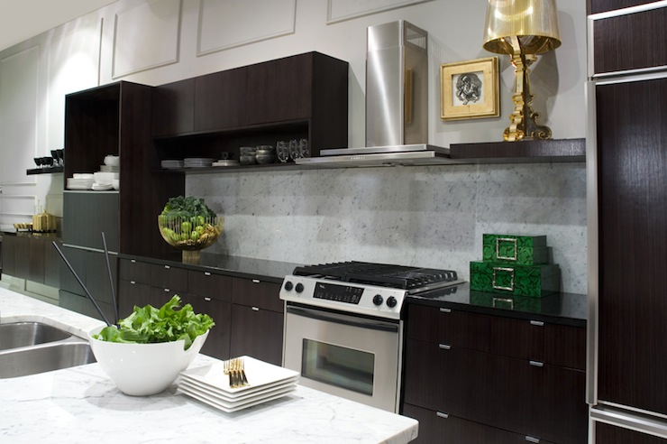 dark laminate kitchen cabinets wood painting black modern espresso paired polished granite marble slab
