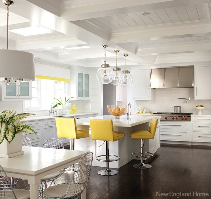 White And Yellow Kitchen Contemporary Kitchen New