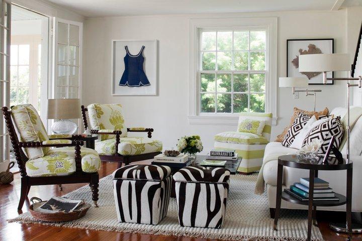 Zebra Ottomans Transitional Living Room Kate Jackson Design