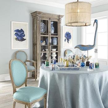 Louis XVI Dining Chair, Aqua, Wisteria