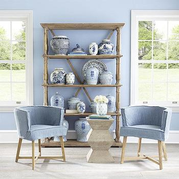 Slipcovered Club Chair, Dusty Blue, Wisteria