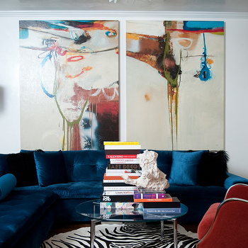 Blue Velvet Sofa, Modern, living room, Smith Boyd Interiors