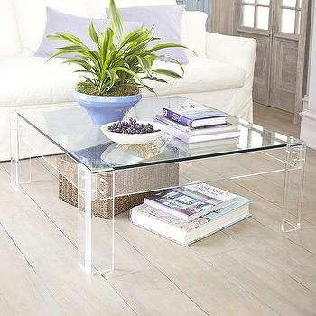 Acrylic Table with Glass, Coffee Table, Wisteria