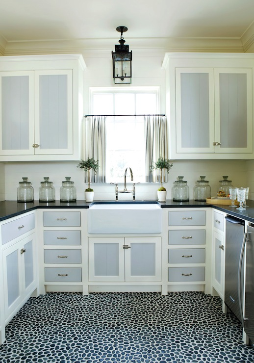 White Kitchen Cabinets With Dark Gray Drawers And Doors