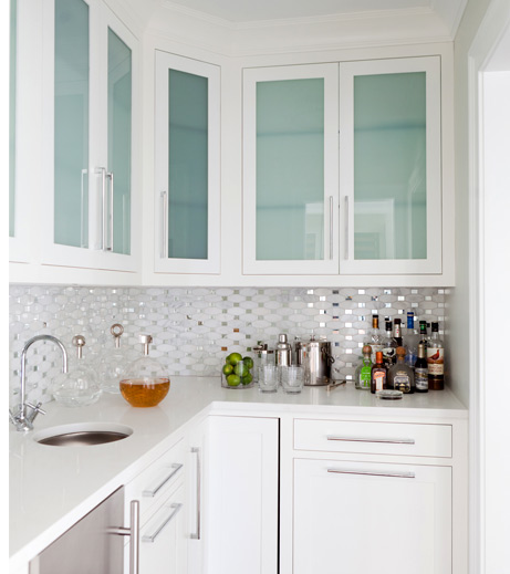 Rain Glass Kitchen Cabinets