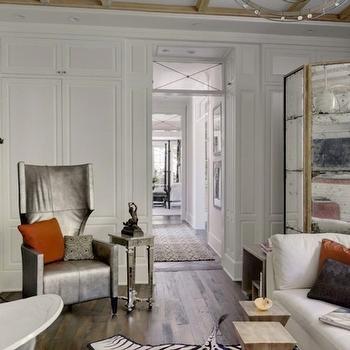 Mirrored Floor Screen, Transitional, bathroom, Benjamin Moore White Dove, Veranda