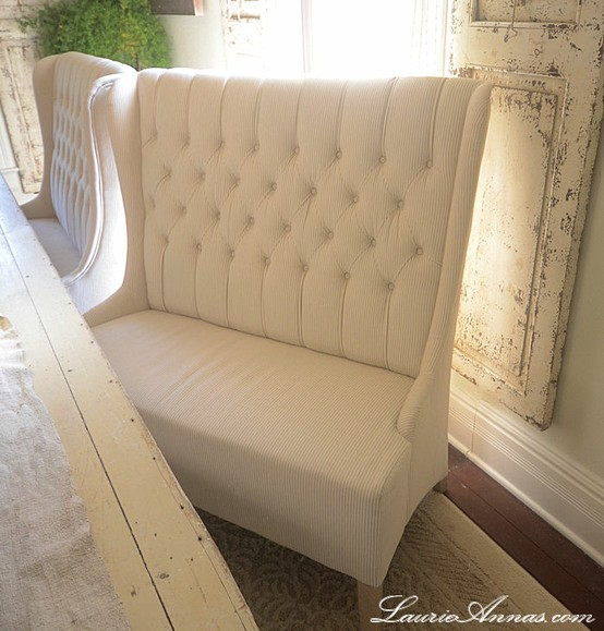 Traditional White Dining Room Settee