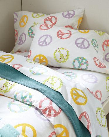 Peace Sign Percale Bedding Garnet Hill