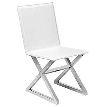 White Woven Leather Gold Legs Dining Chair