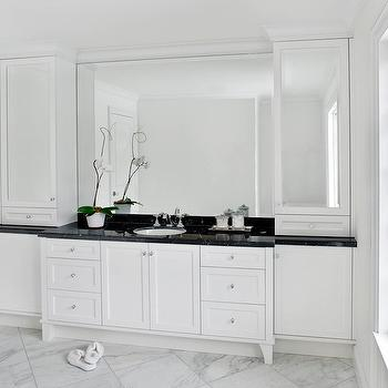 Mirrored Backsplash Tiles White Bathroom Cabinets Design Ideas