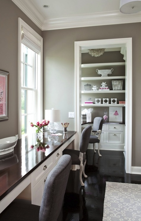Taupe Paint Color Contemporary Den Library Office