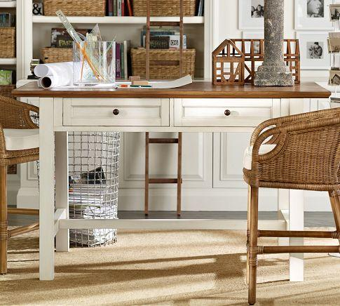 Whitney Project Table Almond White Pottery Barn