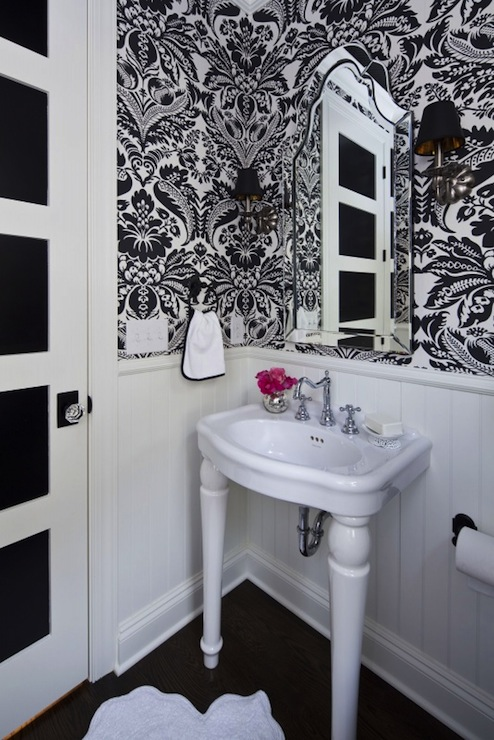 Gray Powder Room Contemporary Bathroom Skonahem