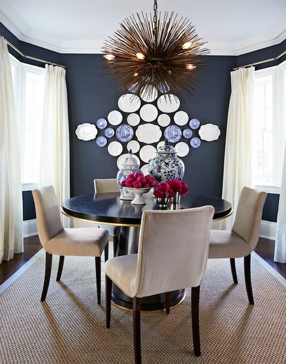Navy Blue Dining Room Eclectic dining room McGill Design Group