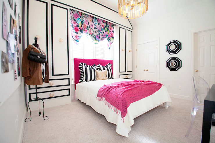Teen girls room design ideas for Black and white girls bedroom ideas