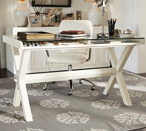 Ava glass display wood desk antique white pottery barn - Pottery barn office desk ...