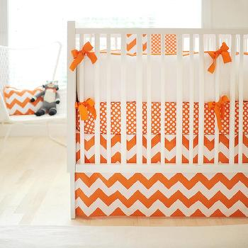 White and orange Crib Bedding, Contemporary, nursery, New Arrivals Inc