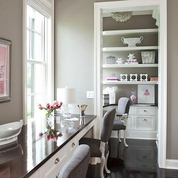 Taupe Paint Color, Contemporary, den/library/office, Benjamin Moore River Reflections, Martha O'Hara Interiors