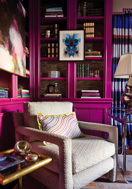Glamorous Office, Modern, den/library/office, Benjamin Moore Mulberry, Atlanta Homes & Lifestyles