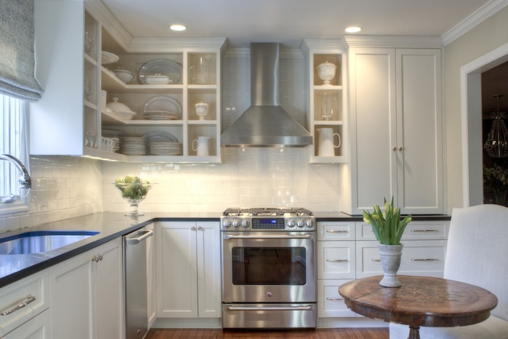 White shaker cabinets transitional kitchen allison for Shaker kitchen designs