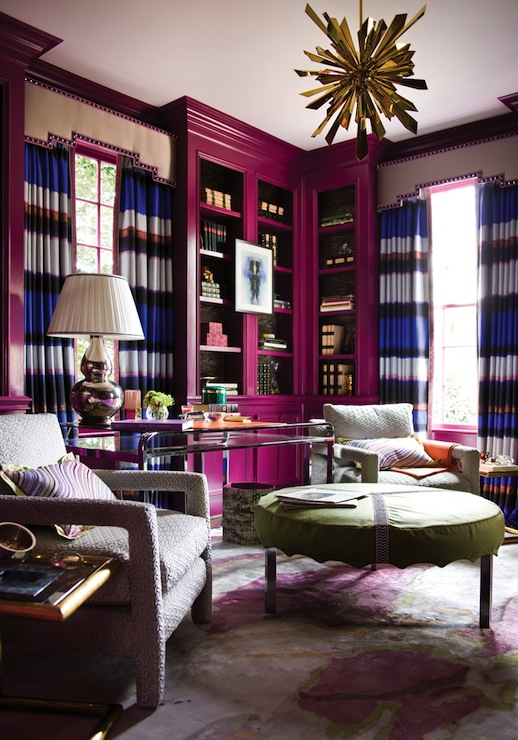 Horizontal Striped Curtains Modern Den Library Office Benjamin Moore Mulberry Atlanta