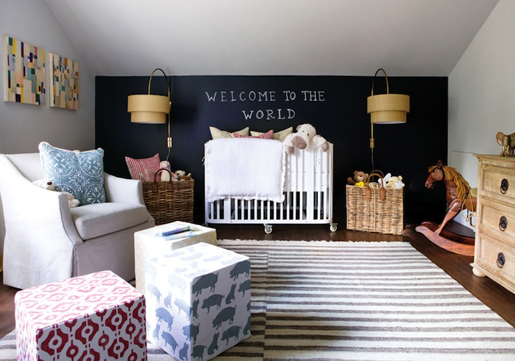 chalkboard accent wall contemporary nursery atlanta homes