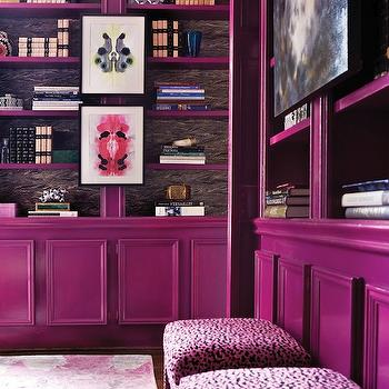 Purple Office Paint Color, Modern, den/library/office, Benjamin Moore Mulberry, Atlanta Homes & Lifestyles