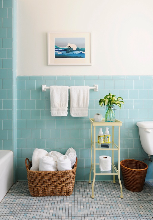 Blue Subway Tile - Vintage - bathroom - Rue Magazine