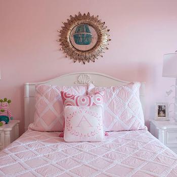 Pink Girl's Bedding, Transitional, girl's room, Benjamin Moore Touch of Pink, Liz Carroll Interiors