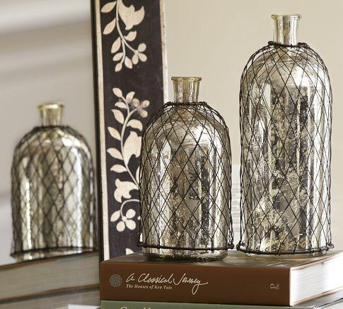 Wire Caged Mercury Glass Bottles Pottery Barn