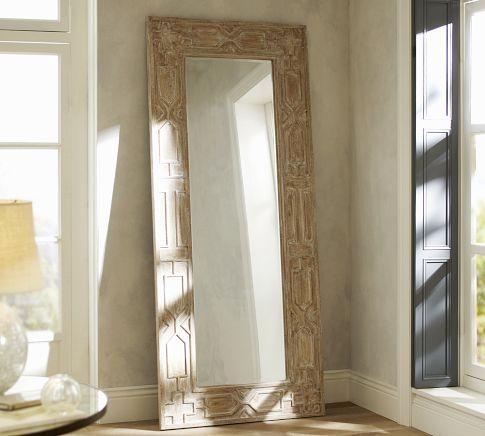 Sabine Floor Mirror Pottery Barn, Carved Wood Mirror Pottery Barn