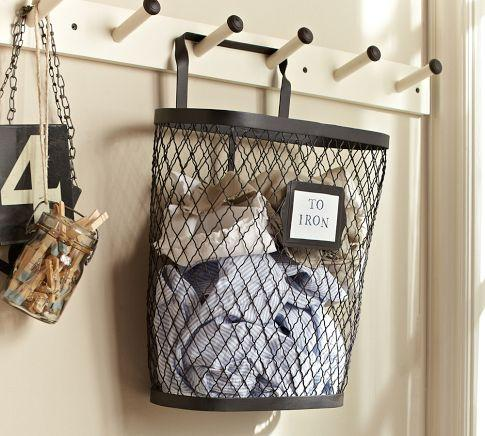 Kendall hanging bin pottery barn for Pottery barn laundry room