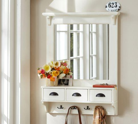 Wall mount entryway organizer mirror white pottery barn for Hallway mirror and shelf