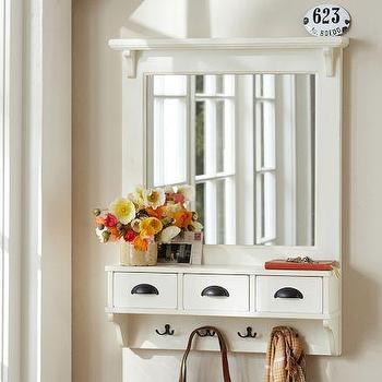 Wall-Mount Entryway Organizer Mirror, White, Pottery Barn