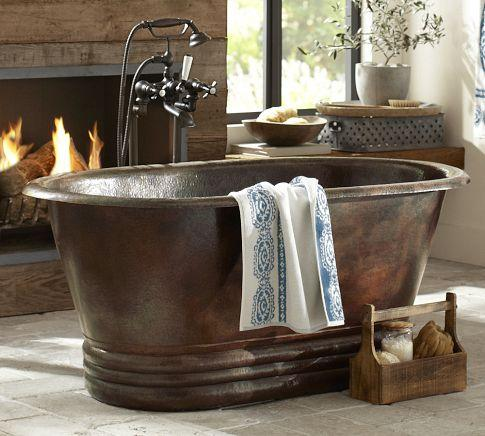 hand hammered copper bath tub - pottery barn