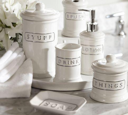 ceramic text bath accessories pottery barn - White Bathroom Accessories Ceramic