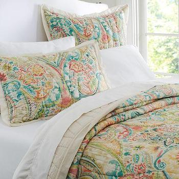 Ocean Bloom Wholecloth Multicolor Quilt And Sham
