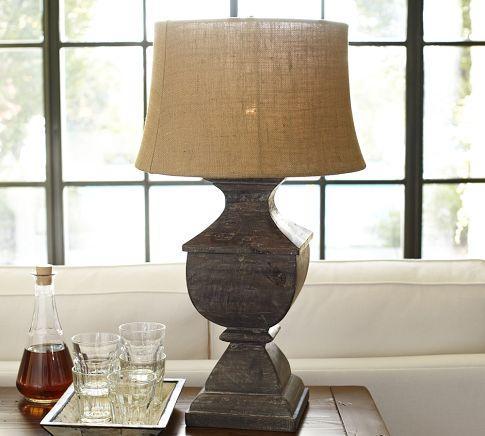 architectural salvage square urn lamp base pottery barn. Black Bedroom Furniture Sets. Home Design Ideas