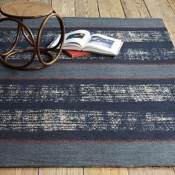 Boro Stripe Printed Jute Rug, Regal Blue, west elm