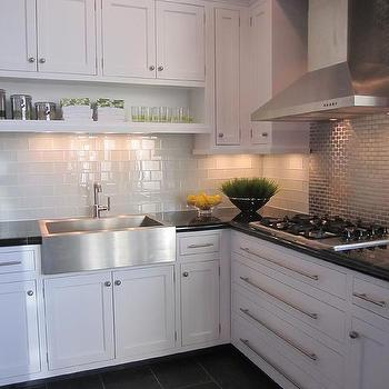 Charcoal Slate Tile, Transitional, kitchen