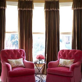 Pink Velvet Chairs, Contemporary, living room, Massucco Warner Miller
