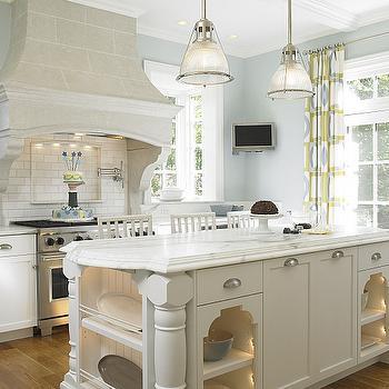 Beadboard Kitchen Island In Cottage Kitchen