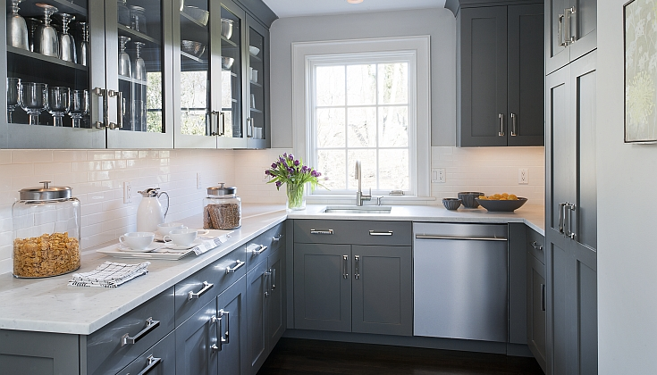 Gray Kitchen Design With Gray Kitchen Cabinets Paired With White Marble  Countertops And Subway Tile Backsplash. Part 78