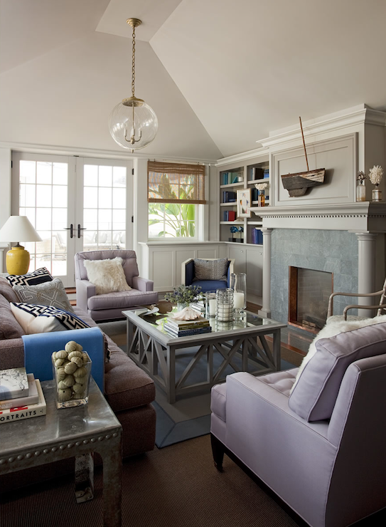Lilac and gray living room design ideas for Mauve living room decor