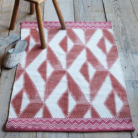 Moroccan Dhurrie Pink Ivory Wool Rug 8 X 10