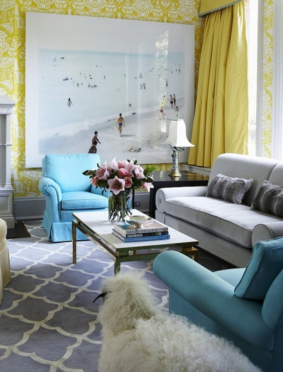 Yellow Drapes Hollywood Regency Living Room Philip Gorrivan Design