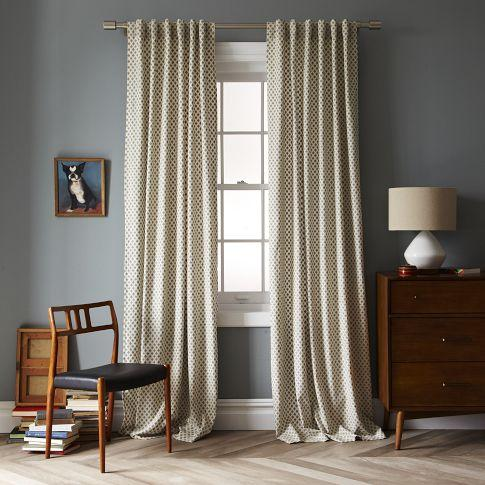 Jacquard leaf window panel west elm for West elm window treatments